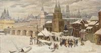 revellers before the kremlin, moscow by appolinari mikhailovich vasnetsov