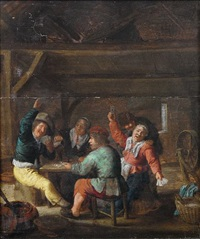 an interior with peasants drinking and playing cards by bartholomeus molenaer