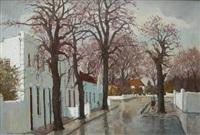 stellenbosch street scene by charles van der merwe