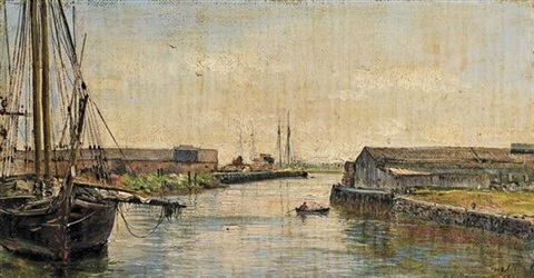 unloading coal in the mystic river by george loring brown