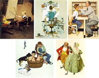 before the dance; kiss; summer's start; autumn harvest; marbles; winter morning (6 works) by norman rockwell