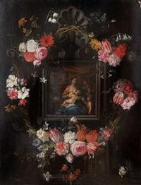 la vierge à l'enfant jésus et saint jean entourés d'une guirlande de fleurs by jan brueghel the younger and peeter van avont