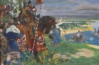 germanen und ritter bei der abwehr von wikingern in ihren booten by ernst roeber