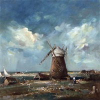 mill at blakeney point, norfolk by arthur edward davies