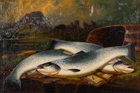 a basket of sea trout by john bucknell russell