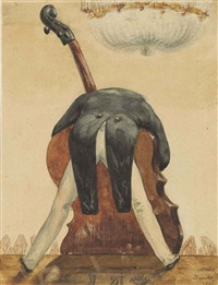 caricature of a man playing the double-bass by jean pierre dantan