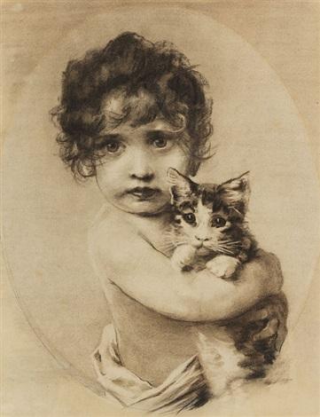 kleines mädchen mit kätzchen im arm by emil nolde