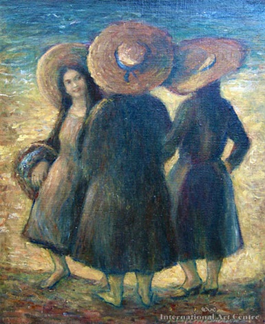 three straw hats by kathleen browne