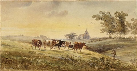 cattle watering by a wooded riverbank cattle grazing with a church beyond smllr 2 works by henry earp