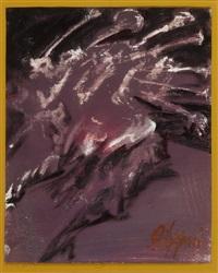abstrakte komposition in violett, schwarz und weiss by felice filippini