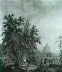 travellers on a sandy path passing an inn where peasants  are merry-making outside, in alandscape by derk jacobs postma