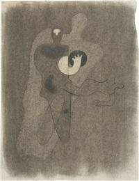figur mit schwarzem ball by willi baumeister