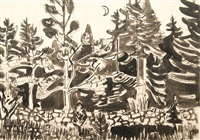 forest with crescent by karl kluth