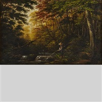 hunting and fishing scenes (group of 3 works) by joseph julius humme