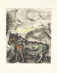donkey dressed in skin of a lion (+ 3 others from le bible; 4 works) by marc chagall