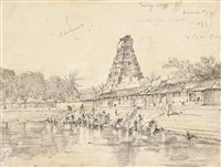 views of temples in southern india (3 works) by george chinnery