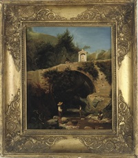 children paddling in a stream below a bridge and a shrine by jean achille bénouville