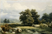 paysage aux grands arbres by jean-baptiste-louis hubert
