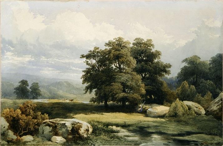 paysage aux grands arbres by jean baptiste louis hubert
