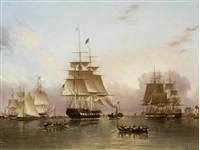 the new york packet enterprise entering the thames by james edward buttersworth