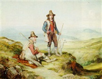 shepherds in an italianate landscape by charles h. poingdestre