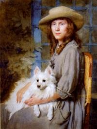 jeune fille au chien by marcel andre baschet