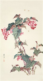 蜜蜂海棠 (begonia flowers and bee) by qu zhen