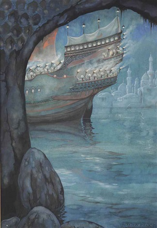 from arabian nights; the story of the strange khalif by anton pieck