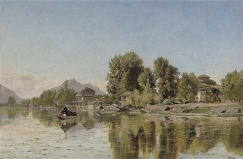 village scene on a river northern india chenab river  by frederick william john shore