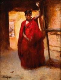 fileuse dans un intérieur saharien by paul alexandre alfred leroy