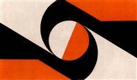 composition au cercle rouge sur dons noir et blanc by elsa bolivar