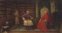 geistliche in der bibliothek bei einer lesestunde by bruno blätter