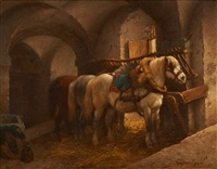 chevaux à l'écurie by wouter verschuur the younger