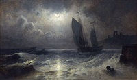 sailboat off a moonlit coast by mauritz frederick hendrick de haas