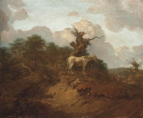 a wooded landscape with a peasant a horse and cattle by thomas gainsborough