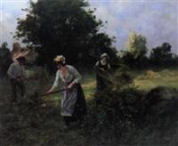 scène de fenaison en bretagne by eugène labitte