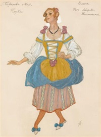 a group of four costume designs for the may queen (4 works) by aleksandr yakovlevich golovin