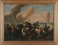 battaglie con cavallerie, in una il trombettiere a sinistra suona gli ordini (pair) by ambrogio borgognone