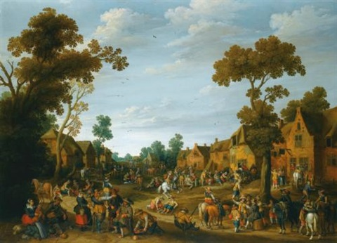 a busy village scene with soldiers and peasants by joost cornelisz droochsloot