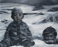 deux enfants sur neige two children on snow by li tianbing