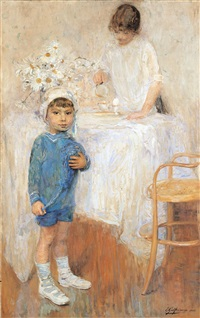 intérieur avec enfant en bleu by ernest jean joseph godfrinon
