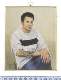a young man, seated and wearing jeans and white sweatshirt by michael bartlett
