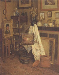 in the artist's studio by josef van raay