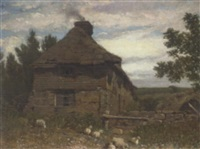 figures by a cottage by william linton