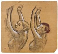 deux danseuses vues en buste, les bras leves by edgar degas