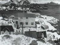 hus och figurer vid kust, vinter by mona huss-wallin