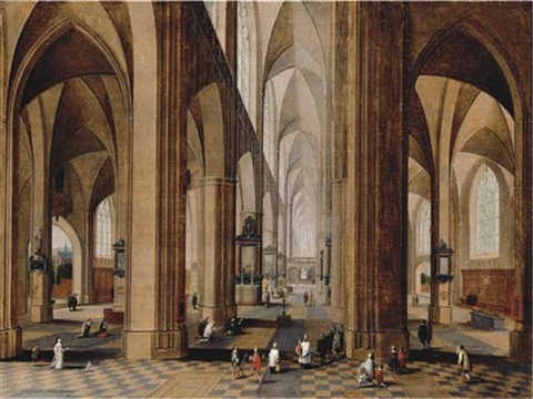 the interior of a gothic cathedral by peeter neeffs the elder
