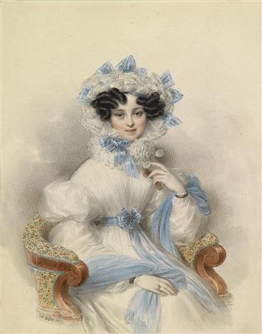 bildnis der erzherzogin henriette von österreich in weißem kleid mit blauen schleifen in einem lehnstuhl sitzend by johann nepomuk ender