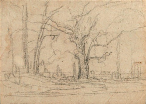 etude darbres study by théodore rousseau