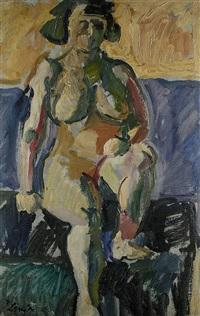 sitzender weiblicher akt (+ atelierszene mit akt, verso) by julo levin